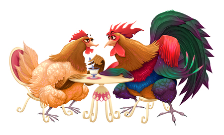 lunch table: Hen and rooster in a cafe. Funny cartoon vector isolated illustration