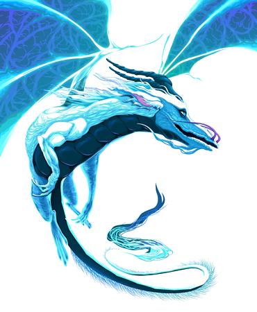 Volo del drago bianco. Vector fantasy carattere isolato