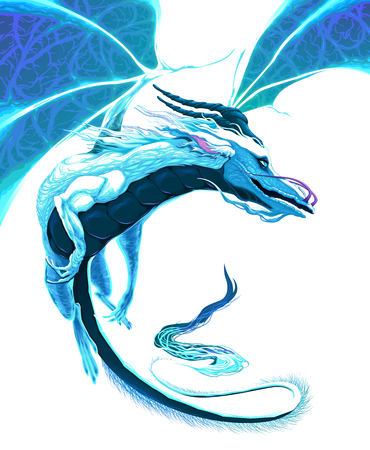epic: White dragon flying. Vector fantasy isolated character