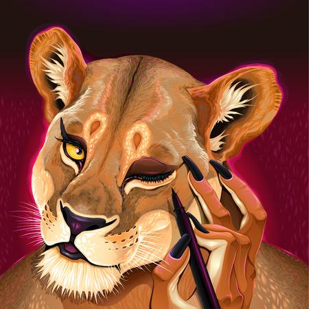 Genetic eyeliner. Lioness is putting on her makeup, vector illustration.