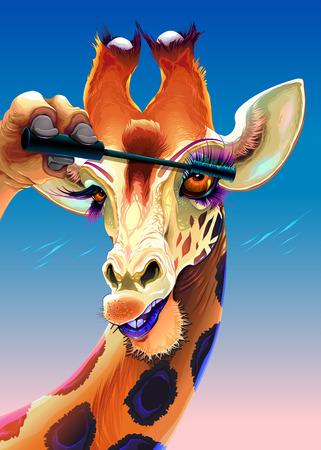 Giraffe is applying the mascara on her eyelashes. Vector illustration.