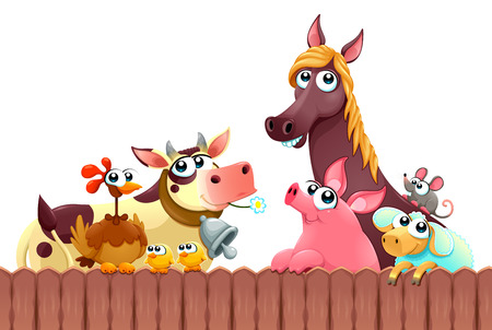 Funny farm animals smiling near the fence. Vector cartoon isolated illustration