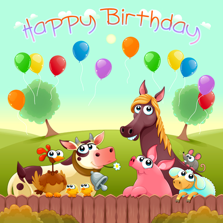 Happy Birthday card with cute farm animals in the countryside. Vector cartoon illustration. Illustration