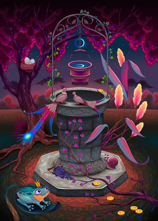The wishing well in a magic garden. Vector cartoon fantasy illustration.