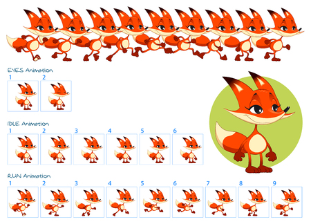 Frames of running, idle and blinking eyes animations of funny cartoon fox. Vector cartoon isolated elements.
