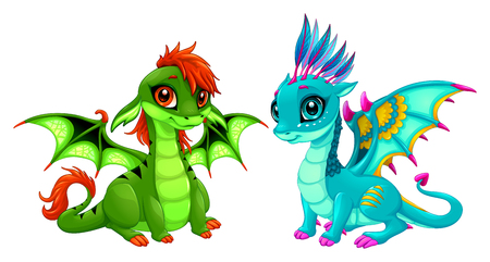 Baby dragons with cute eyes. Cartoon vector isolated characters. Illustration