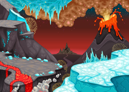 Prehistoric landscape with fire and ice. Cartoon vector illustration.