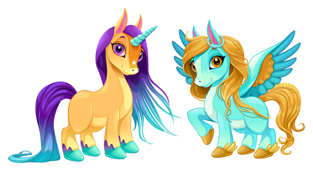 Baby unicorn and pegasus with cute eyes. Cartoon vector isolated characters.