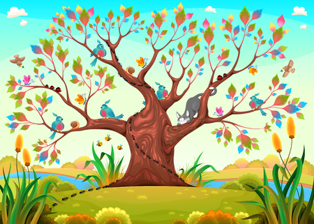 Happy tree with birds, insects and cat. Funny cartoon vector illustration for children. Illustration