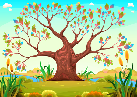 Happy tree in the countryside. Funny cartoon vector illustration for children.
