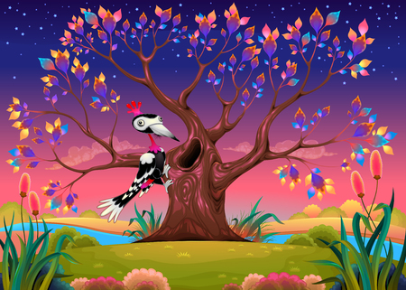 Happy tree in the countryside with woodpecker. Funny cartoon vector illustration for children. Illustration