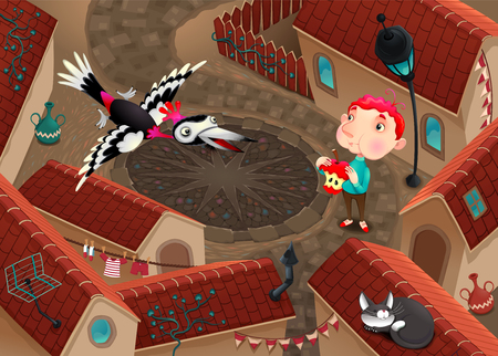 The woodpecker and boy with apple. Funny cartoon vector illustration representing a scene from a top view, in a little tow with roofs and shingles.