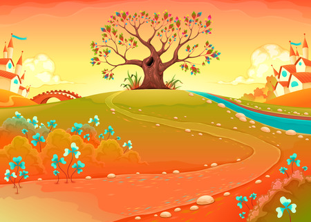 Countryside landscape with tree in the sunset. Funny cartoon vector illustration for children  Illustration