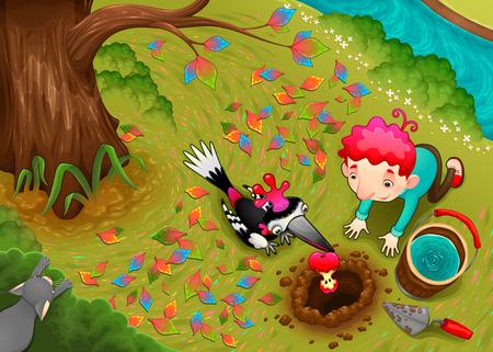 El pájaro carpintero y el niño están sembrando una semilla de manzana. Ilustración divertida del vector de la historieta para los niños en una escena del campo de la visión superior con el árbol, el prado y el río. Foto de archivo - 93148780