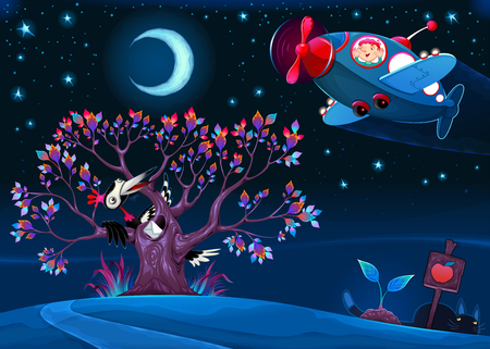 The woodpecker is saying hello to the airplane in the night. Funny cartoon vector illustration for children.
