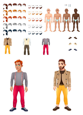 Dresses and hairstyles game with male avatars. Vector illustration, isolated interchangeable objects. Illustration