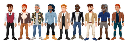 Varied male fashion avatar. Vector cartoon characters with different clothes, shoes and hairstyles. They are all interchangeable.
