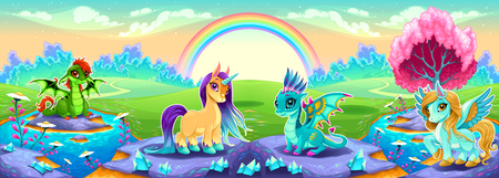 Landscape of dreams with rainbow and fantasy animals. Vector cartoon illustration Illustration