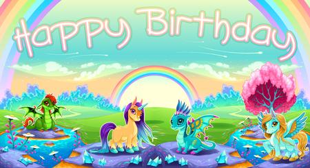 Zadowolony urodziny karty ze zwierzętami fantasy. Ilustracja kreskówka wektor
