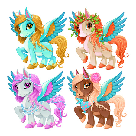 Baby Pegasus for freedom and magic cartoon vector isolated characters. Illustration