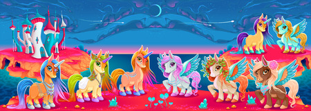Groups of unicorns and Pegasus in a fantasy landscape vector cartoon illustration.