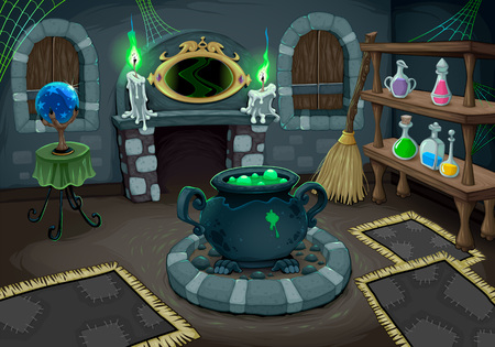 The witch room. Vector cartoon illustration for halloween and games. Stock Illustratie