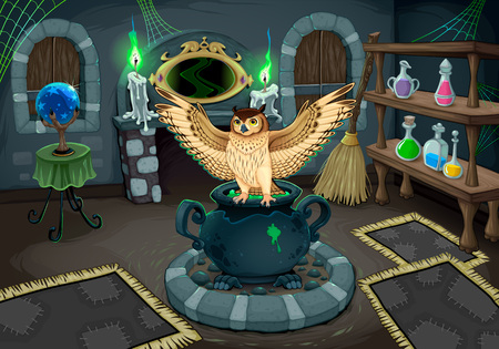 The witch room with owl. Vector cartoon illustration for halloween and games. Illustration
