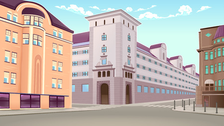 Street view with buildings in perspective. Vector architectural illustration. Illustration