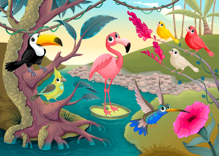 Group of funny tropical birds in the jungle Vector cartoon illustration