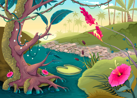 View on the forest with colored flowers and river. Cartoon vector illustration Illustration