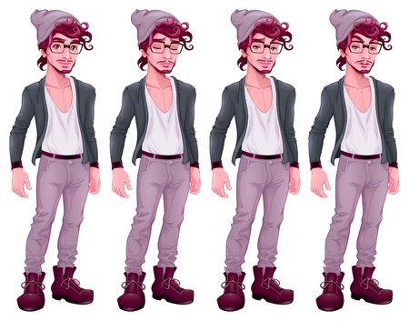 Boy with different expressions. Vector cartoon isolated characters.