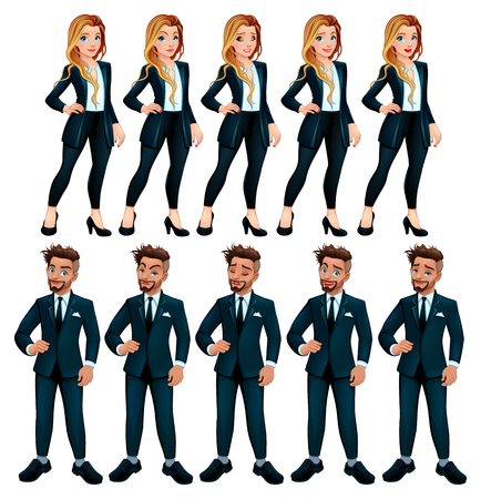 Couple of workers with different expressions. Vector cartoon isolated characters.