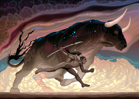 The power of Taurus. Vector zodiacal conceptual illustration 일러스트