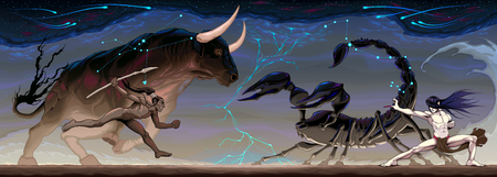 Zodiacal battle between Taurus and Scorpio. Vector conceptual fantasy illustration Illustration