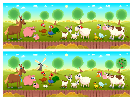 Spot the differences. Two images with seven changes between them, vector and cartoon illustrations. 矢量图像