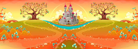 Countryside landscape with castle in the sunset. Funny cartoon vector illustration
