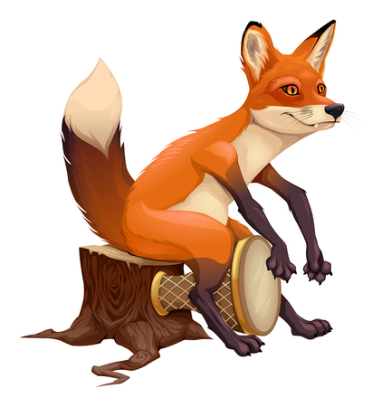 Funny fox is playing with the drum. Vector isolated cartoon character