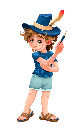 Magician child with blue hat. Vector cartoon isolated character Banque d'images - 105416961