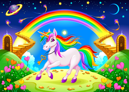 Rainbow unicorn in a fantasy landscape with golden stairs. Vector illustration Stock Illustratie