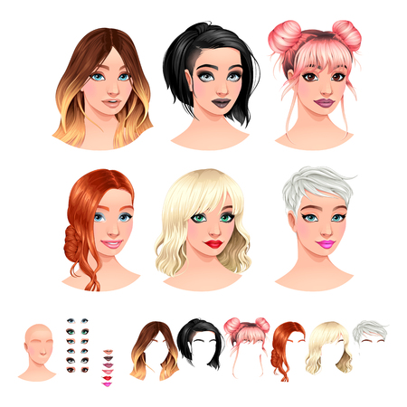 Fashion female avatars. 6 hairstyles, 6 make-up, 6 mouths, 1 head, for multiple combinations. In this image, some previews. Vector file, isolated objects.  イラスト・ベクター素材