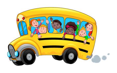 Autobús escolar de dibujos animados con estudiantes de niño feliz. Objeto aislado de vector. Ilustración de vector
