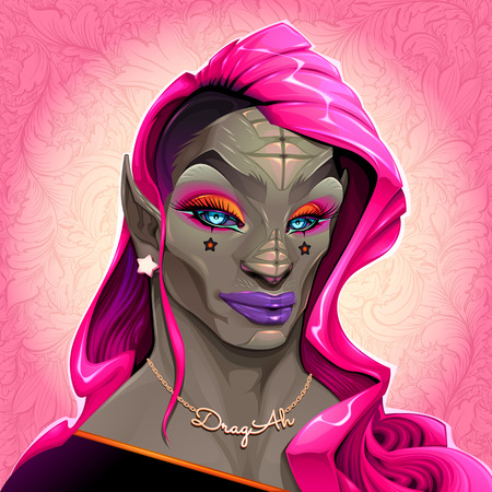Portrait of reptilian Drag Queen called DragAh. Vector illustration