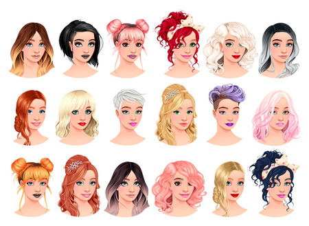 Set of fashion female avatars. Vector file, isolated characters.