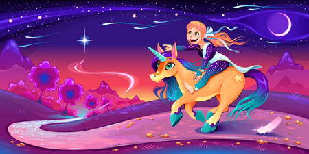 Happy girl is riding the unicorn following her star.  Vector cartoon fantasy illustration for children.