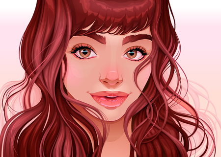 Beautiful girl looking at the viewer, vector illustration. The character is completely invented by me, without references.