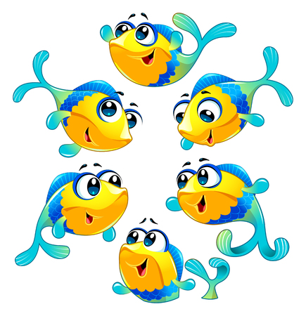Group of funny and happy fish. Vector cartoon isolated characters.