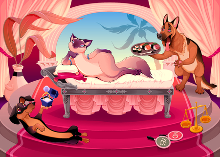 The art of seduction. Funny cartoon vector illustration representing a kitty surrounded by suitor dogs, completely  bewitched by her charm.
