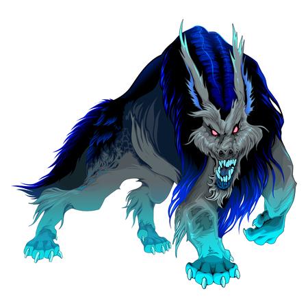 Hombre lobo furioso con melena negra y azul. Vector personaje de terror aislado.