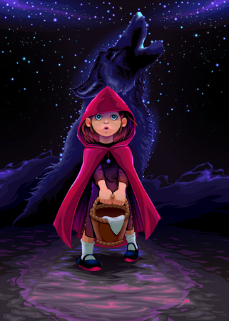 The initiation of Little Red Riding Hood. Vector conceptual illustration