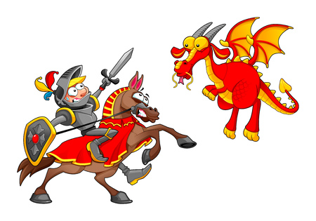 Knight on horse fighting the dragon. Funny cartoon medieval fantasy isolated vector characters. Illustration